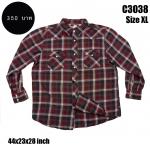 C3038 เสื้อลายสก๊อตสีแดงดำ กระดุมมุก