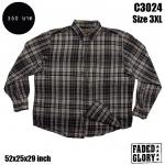 C3024 เสื้อลายสก๊อตสีเทาดำผ้าสำลีบาง ไซด์ใหญ่