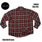 C4021 เสื้อลายสก๊อตผู้ชาย สีแดงดำ