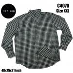 C4070 เสื้อลายสก๊อตผู้ชาย สีขาวดำ ไซส์ใหญ่