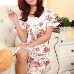 ชุดนอนเกาหลีขาสั้นลายดอกไม้ set 1 สีชมพู