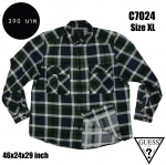 C7024 เสื้อลายสก๊อตสีเขียวดำเข้ม ยี่ห้อ GUESS