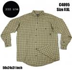 C4095 เสื้อลายสก๊อตผู้ชาย สีเหลืองหม่น ไซส์ใหญ่