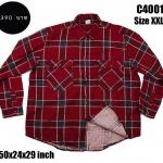 C4001 เสื้อลายสก๊อต สีแดง ไซส์ใหญ่ ผ้าสองด้าน
