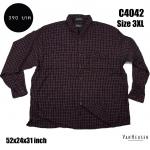 C4042 เสื้อเชิ้ตลายสก๊อต สีน้ำตาลอมม่วง ไซส์ใหญ่ VANHEUSEN