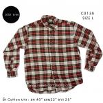 C0138 เสื้อลายสก๊อตผู้มือสองสีเขียวแดง