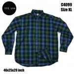 C4099 เสื้อเชิ้ตลายสก๊อตผู้ชาย สีเขียว-น้ำเงิน