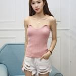 เสื้อสายเดี่ยวไหมพรม สีชมพู