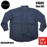 C4005 เสื้อลายสก๊อต สีน้ำเงินเข้ม ผู้ชาย Uniqlo