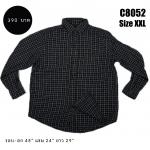 C8052 เสื้อลายสก๊อตผู้ชาย สีดำ ไซส์ใหญ่