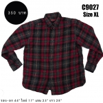 C9027 เสื้อลายสก๊อต สีแดง