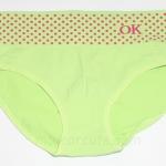 กางเกงในหญิง กางเกงในเอวสูง ลายจุด Logo OK สีเขียว