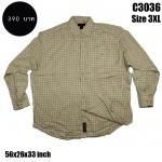 C3036 เสื้อลายสก๊อตผู้ชายไซด์ใหญ่ สีเหลืองอ่อน