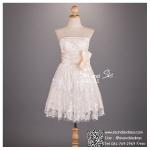 sd1050 ขาย ชุดงานหมั้น สีแชมเปญ ชุดผ้าผ้าลูกไม้สีขาวพรีเมี่ยม จับเดรปเอว คาดด้วยโบว์น่ารัก ซิปหลัง สวยหวานน่ารักมากๆ