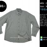 C1698 เสื้อเชิ้ตลายสก๊อต ผู้ชาย สีเทา ไซส์ใหญ่