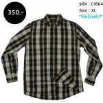 C1664 เสื้อลายสก๊อต ผู้ชาย สีดำเหลือง