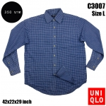 C3007 เสื้อเชิ้ตลายสก๊อตสีน้ำเงิน Uniqlo