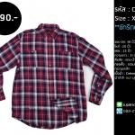 C1728 เสื้อลายสก๊อต ผู้ชาย สีแดง ไซส์ใหญ่