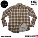 C3027 เสื้อลายสก๊อตผู้ชายสีน้ำตาล ผ้าสองด้าน ไซด์ใหญ่ Quiksilver