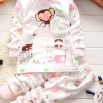 ชุดนอนเด็กน่ารัก set 7 ลายลิงสีชมพู