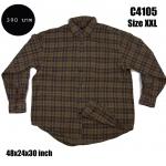 C4105 เสื้อลายสก๊อตผู้ชาย สีน้ำตาล ไซส์ใหญ่
