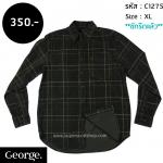 C1275 เสื้อลายสก๊อต ผู้ชาย ผ้าลูกฟูก George