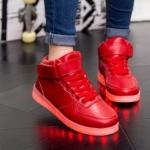 รองเท้ามีไฟ รองเท้า LED หุ้มข้อ สีแดง เปลี่ยนสีได้ 11 สี สินค้าพรีออเดอร์