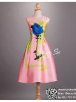 sd1036 ชุดไปงานแต่งงานวินเทจ สีชมพู เดรสลายดอกไม้ ใส่ไปงานแต่งงานกลางวัน หรือ กลางคืน น่ารักมากค่ะ