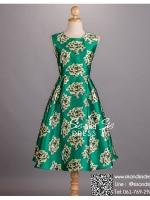 sd1037 ชุดไปงานแต่งงานวินเทจ สีเขียว เดรสลายดอกไม้ ใส่ไปงานแต่งงานกลางวัน หรือ กลางคืน สวย หรู