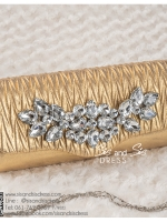 bs0009 กระเป๋าคลัช สีทอง กระเป๋าออกงานพร้อมส่ง ราคาถูกกว่าเช่า แบบสวยๆ ดูดีเหมือนดาราใช้