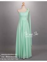 ld3056 ชุดราตรียาว แบบไหล่เดี่ยว สีเขียว ติดดอกไม้ช่วงไหล่ ใส่ไปงานแต่งงาน งานพรอม งานบายเนียร์ งานเลี้ยง ชุดเพื่อนเจ้าสาว สวย หรู น่ารัก