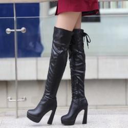 [มีหลายสี] รองเท้าบูทยาวผู้หญิง ส้นสูง แฟชั่นหนัง pu ซิปด้านใน ร้อยเชือกด้านหลัง สวยสไตล์ยุโรป แพลตฟอร์มสูง 1 นิ้ว ส้นสูง 4.5 นิ้ว