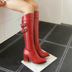 [มีหลายสี] รองเท้าบูทยาวผู้หญิง ส้นสูง แต่งงหัวเข็มขัด ซิปด้านใน ส้นสูง 2 นิ้ว (มีรุ่นขนบุด้านใน และ รุ่นธรรมดา)