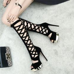 รองเท้าบูทผู้หญิง หัวปลา ทรงสาน แฟชั่นหนังแท้ สีดำ เซ็กซี่ไนน์คลับ ซิปด้านหลัง ทรงสวยสไตล์ยุโรป แพลตฟอร์มสูง 2.5 นิ้ว / ส้นสูง 5.5 นิ้ว