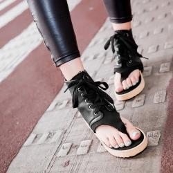 [มี2สี] รองเท้าแตะคีบ แฟชั่นหนัง pu ผูกเชือก ทรงหุ้มข้อ สไตล์ยุโรป