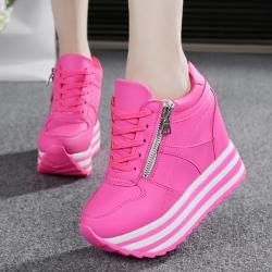 [มีหลายสี] รองเท้าผ้าใบเสริมส้น หนังpu ผูกเชือก แต่งซิปด้านข้าง ส้นสูง 5 นิ้ว สวย สไตล์เกาหลี