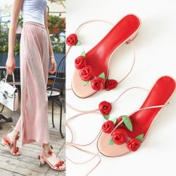รองเท้าหัวปลา ส้นสูง เปิดส้น แฟชั่นหนังแท้ แต่งดอกกุหลาบ มีสายพันรอบขา สีชมพูสวยหวานสไตล์เจ้าหญิง