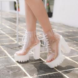 รองเท้าบูทสั้นผู้หญิง ทำจากพลาสติกใส ส้นตึก ร้อยเชือก สวย สไตล์ยุโรป แพลตฟอร์มสูง 2 นิ้ว / ส้นสูง 5 นิ้ว