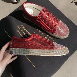 [มี2สี] รองเท้าผ้าใบแฟชั่นผูกเชือก ทำจากหนัง pu แต่งเพชร สวยสไตล์เกาหลี