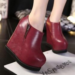 [มี2สี] รองเท้าบูทผู้หญิงส้นตึก หนังPu รุ่นไม่หุ้มข้อ ซิปหลังใส่ง่าย ส้นสูง 5.5 นิ้ว ทรงสวยสไตล์เกาหลี