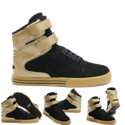 รองเท้าผ้าใบหุ้มข้อ วัสดุหนังแท้ ทรงฮิปฮอป สีดำ-ทอง ผูกเชือก สายคาดหน้า 2 เส้นติดเทป สวย เท่ แฟชั่นสไตล์เกาหลี