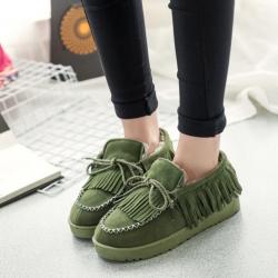 [พร้อมส่ง] รองเท้าขนสัตว์ พื้นหนา แบบผูกเชือก แฟชั่นหนังนิ่ม สีเขียว แต่งพู่ กำมะหยี่ด้านใน ทรงสวย ใส่อุ่น แฟชั่นหน้าหนาว