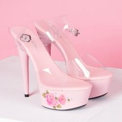 [มี2สี] รองเท้าส้นสูงใส่ออกงาน หัวปลา หน้าพลาสติกใส แต่งหัวเข็มขัดรัดส้น ลายดอกไม้สไตล์สวยหวาน ส้นสูง 6 นิ้ว