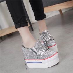 [มี2สี] รองเท้าส้นตึก กากเพชร แต่งโบว์+หูกระต่าย เสริมส้นสูงด้านใน ทรงสวยสไตล์ KOREA