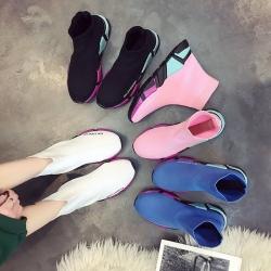 [มีหลายสี] รองเท้าผ้าใบหุ้มข้อ หนัง pu+ผ้ายืด หลากสี สดใส พื้นหนา ทรงสวยสไตล์เกาหลี