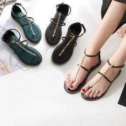 [มี2สี] รองเท้าแตะคีบ ฤดูร้อน ทรงสาน วัสดุหนัง pu แต่งอะไหล่สีทอง แต่งหัวเข็มขัดรัดข้อ สวยสไตล์เกาหลี