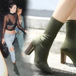 [มีหลายสี] รองเท้าบูทั้นผู้หญิง หัวแหลมส้นสูง ส้นไม้ วัสดุหนังแท้+ผ้ายืด คุณภาพสูง ทรงสวยแฟชั่นสไตล์ยุโรป ส้นสูง 3.5 นิ้ว