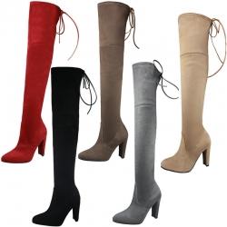 [มีหลายสี] รองเท้าบูทยาวคลุมเข่า ส้นสูง แฟชั่นหนังนิ่ม ผูกเชือกด้านหลัง ทรงสวย แฟชั่นสไตล์ยุโรป ส้นสูง 4 นิ้ว บูทยาว 21 นิ้ว