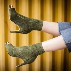[มี2สี] รองเท้าบูทสั้นผู้หญิง ทรงมาร์ติน หัวปลา ส้นสูง วัสดุหนังแท้ + ผ้ายืด ตาข่าย สวย สไตล์อังกฤษ ส้นสูง 3.5 นิ้ว บูทยาว 5.5 นิ้ว
