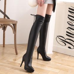 [มีหลายสี] รองเท้าบูทยาวผู้หญิง ส้นสูง แฟชั่นหนังpu ร้อยเชือกด้านหลัง ทรงสวยสไตล์ยุโรป ส้นสูง 4 นิ้ว / บูทยาว 21 นิ้ว
